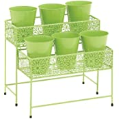 Attractive Styled Metal 2 Tier Plant Stand Green