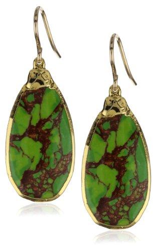 """Devon Leigh Green Turquoise in 24k Foil Earrings , 2"""""""