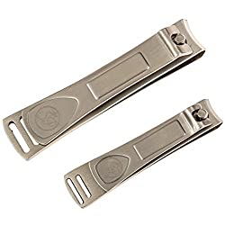 Premium Nail Clipper Set - Stainless Steel Fingernail Clippers & Toenail Clippers - Built-in Nail Files - Velvet String Carrying Pouch - Professional Spa Quality Precision Nail Care Tools