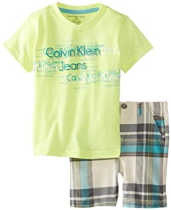 Calvin Klein Baby-Boys Infant Tee with Plaided Short by Calvin Klein
