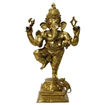Dancing Ganesh Statue, Brass 34 Inches