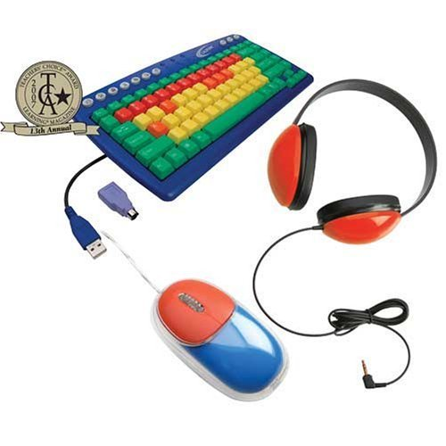 Califone Kidspack Kids Computer Peripheral Package, Includes Kids Keyboard (Kb1), Headphone (2800-Rd) And Mouse (Km100), Color-Coded Keys Help Identify And Locate Function (Green), Consonants (Yellow), Vowels (Orange) & Number (Red) Keys, Adjustable Headb