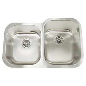 """Bundle-08 Premium Series Double Bowl Equal Width Reverse Undermount Sink (2 Pieces) Size: 8"""" - 10"""" D"""
