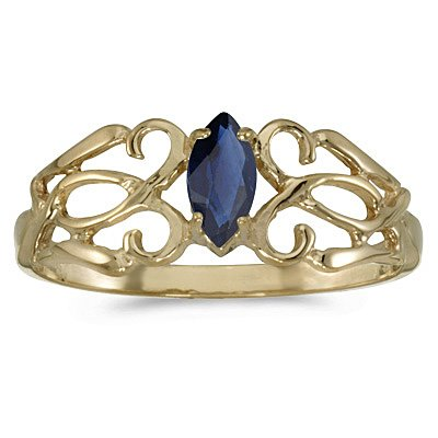 10K Yellow Gold 6 x 3 MM Marquise Cut Sapphire Filigree Ring