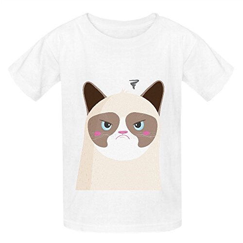 Grumpy Cat Naj Girls Crew Neck Customized T-shirt White (Grumpy Bear Pajamas compare prices)