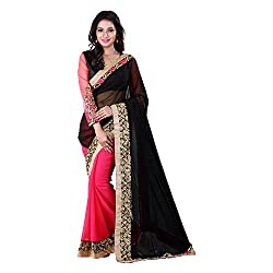 khanak export Women's Georgette Saree(KE_03_Multi-Coloured_Free Size)