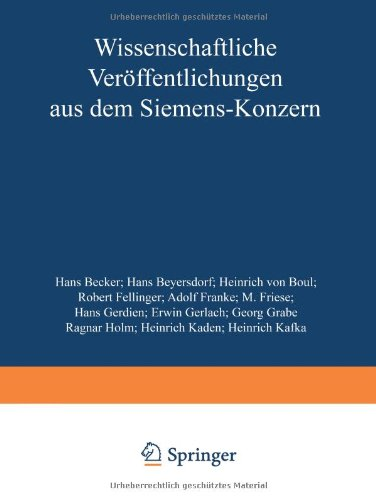 Wissenschaftliche Veröffentlichungen Aus Dem Siemens-Konzern: Iii. Band (German Edition)