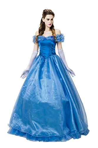 Halloween Cosplay Party Cinderella Adult Costume Blue Ball Gowns Princess Dress