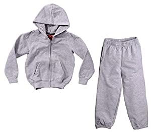 Caldore Unisex Pants Hoodie fleece set Light Grey Size Large 14/16