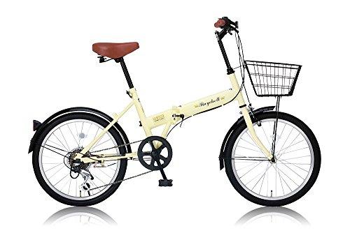 Raychell(レイチェル) 20インチ折りたたみ自転車 シマノ6段変速 カゴ・泥除け標準装備 カギ・ライト付属 FB-206R アイボリー