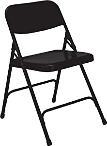 National Public Seating 200 Series All Steel Premium Folding Chair with Double Brace, 480 lbs Capacity, Black (Carton of 4)