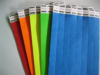 Rainbow Mix 100 of 5 Colors Tyvek Wristbands 3/4 Inch