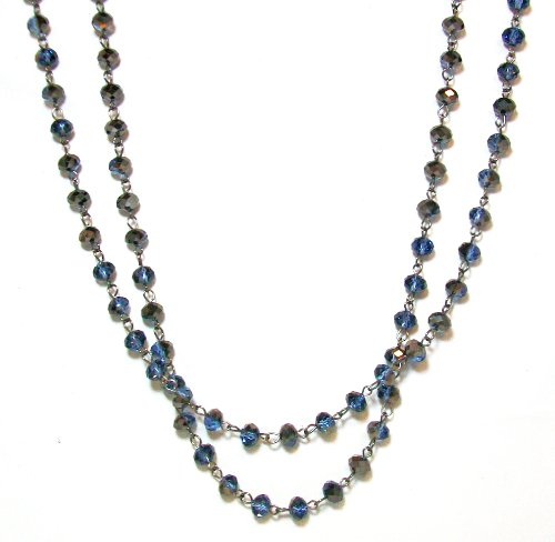 Just Give Me Jewels Gunmetal Metallic Grey Double Wrap Bead Necklace