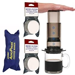 AeroPress Coffee and Espresso Maker with zippered nylon tote bag with bonus 350 Micro Filters by Aerobie