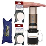 AeroPress Coffee and Espresso Maker with zippered nylon tote bag and an Extra 350 Micro Filters (700 Total) ~ Aerobie