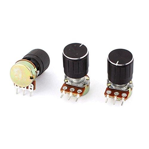 3 Pcs B1K 1K Ohm 13mm Rotating Shaft Audio Single Linear Potentiometer