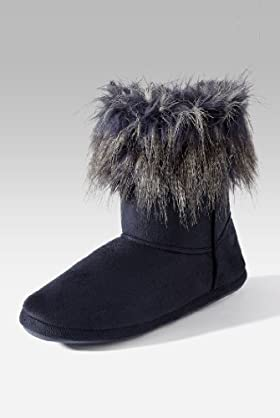 Round Toe Faux Fur Cuff Slippers [T82-3631-S]