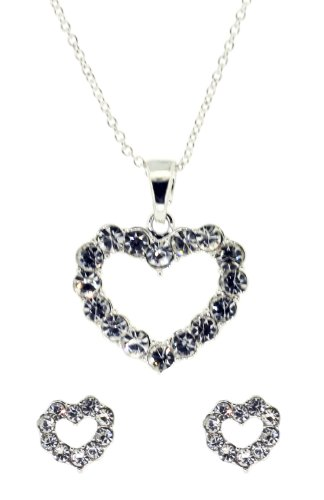 Jodie Rose Crystal Heart Necklace and Earrings Set, 40 cm + 6 cm extender