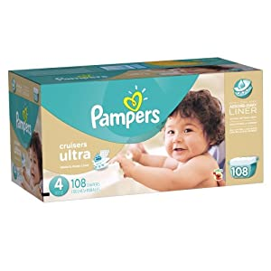 Pampers Cruisers Ultra Diapers Size 4 Economy Pack 108 Count