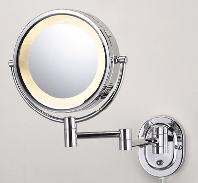 "Seeall 8"" Chrome Finish Dual Sided Surround Light Wall Mount Makeup Mirror front-13677"