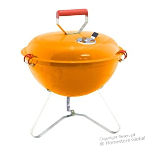 HOMESTORE GLOBAL, Beach BBQ / Camping Portable Light Weight Grill Charcoal Barbecue, Fun for BBQ Party (Orange)
