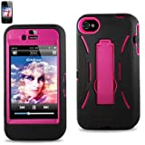 Reiko SLCPC08-iPhone4SBKHP Hybrid Case with Kickstand for iPhone 4/4S - Hot Pink - 1 Pack - Retail Packaging - Hot Pink