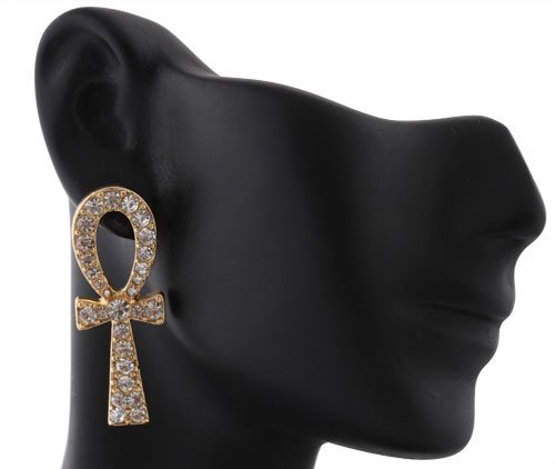 2 Pairs of Goldtone with Clear Iced Out Ankh Cross Stud Earrings