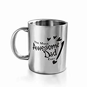 "HotMuggs ""The Most Awesome Dad"" Stainless Steel Mug, 350ml, Silver"