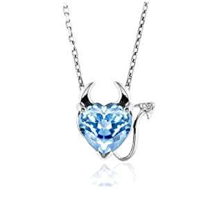 3.00 Carat Blue Topaz Devil Heart Pendant in Sterling Silver with 18