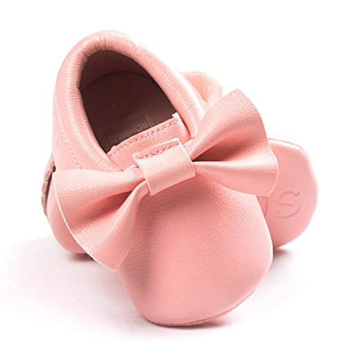 Voberry Baby Boys Girls Soft Soled Tassel Bowknots Crib Shoes PU Moccasins (0~6M, Pink)