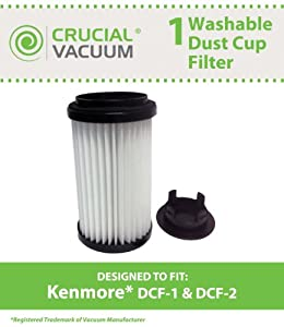 Kenmore DCF-1 DCF-2 Washable & Reusable Long-Life Vacuum Tower Filter; Incudes End-Cap; Replaces Kenmore DCF1 DCF2 Part # 82720, 82912, 02082720000, 02080008000, 02080000000, 20-82720 & 20-82912; Designed & Engineered By Crucial Vacuum