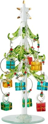 Glass Christmas Tree with 9 Wine Glass Charm Ornaments