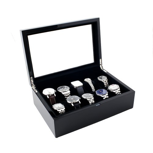 Caddy Bay Collection Piano Glossy Black Wood Watch Case Display Storage Box with Glass Top Holds 10 Watches with Adjustable Soft Pillows, High Clearance for Large Watches