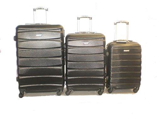 DZL Set 3 Trolley valigie rigide in ABS e policarbonato 4 ruote piroettanti colori vari (NERO)