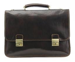 Alberto Bellucci Mens Italian Leather Rimini Double Compartment Laptop Briefcase Bag in Dark Brown