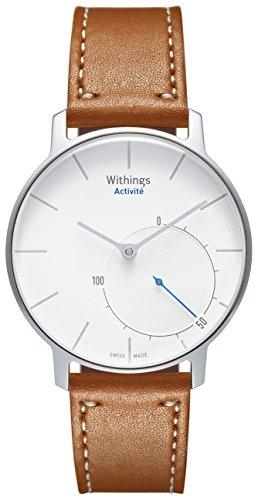 Withings Activité Sapphire - Montre connectée avec Mesure d'Activité et de Sommeil - fabriquée en Suisse - Argent / Marron
