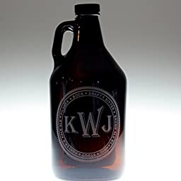 Personalized Gift for Him | Amber Growler with Beer Names Monogram | Custom Beer Gift
