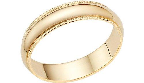 14K Gold 5mm Milligrain Wedding Band Ring