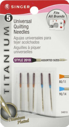 Find Discount Singer Titanium Universal Quilting Machine Needles, Assorted Sizes, 5-Pack