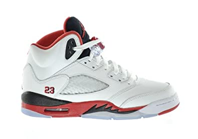 Buy Air Jordan 5 Retro (GS) Big Kids Basketball Shoes White Fire Red-Black by Jordan