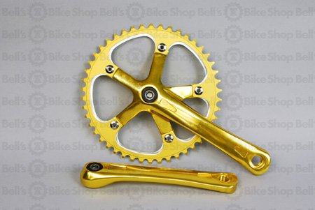 Origin8 Square Top Track Single Speed Bicycle Crankset - Gold 165mm x 46T
