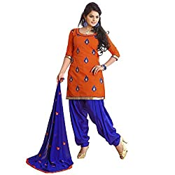 FadAttire Chanderi Patiala Salwar Kameez Dress Material-Brown-FARL03