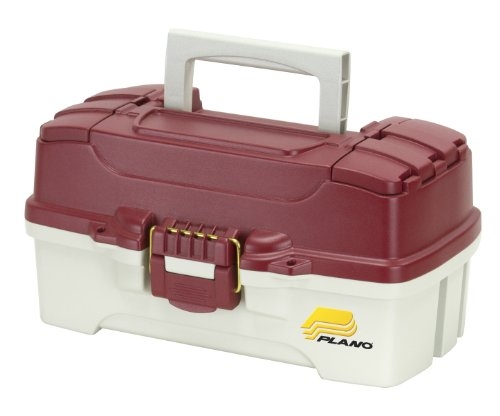 Plano Molding Company 1-Tray Tackle Box with Dual Top Access, Red Metallic/Off White