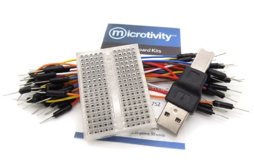 microtivity IB182 170-point Mini Breadboard for Arduino w/ Jumper Wires & USB Adapter (Transparent)