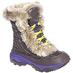 The North Face Nuptse Fur II Winter Boot for Kids - Plum Kitten Grey/Blue Iris