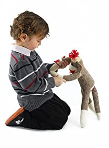 Maven: Adorable Sock Monkey with Classic Brown Color, Red Lips, Pom Pom Hat, Bowtie, and White Socks - No Rough Edges - Perfect for Snuggling - Great Gift for Ages 3 and Up - 20 Inches Long