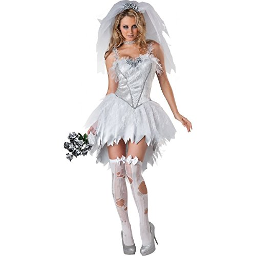 [GSG Bloodless Bride Costume Adult Halloween Fancy Dress] (Dark Skeleton Bride Child Costumes)