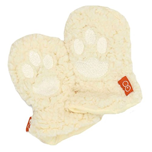 Magnificent Baby Mittens Unisex Fleece Outside Lined / Magnet Clips 6-12 Cream