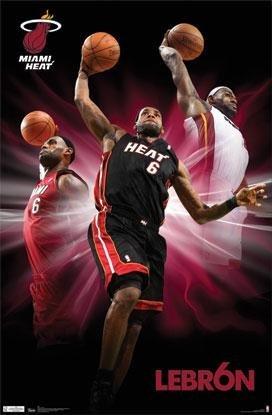 Miami Heat - Lebron James Triple Dunk 22x34 Poster Art Print Sports Nba Ball