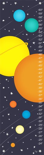 "Oopsy Daisy Growth Chart, Planets of The Solar System, 12"" x 42"""